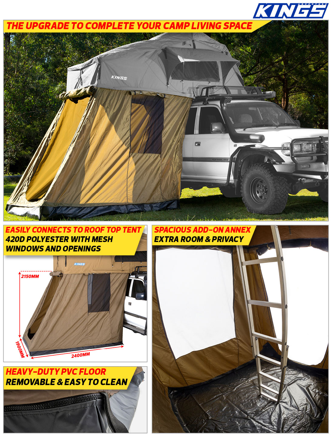 Adventure Kings Roof Top Tent 4-man annex for roof top tent, fully waterproof   incl enclosed floor    adventure kings